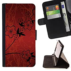DEVIL CASE - FOR Samsung Galaxy Core Prime - Wallpaper Flowers Red Sketch Black Design - Style PU Leather Case Wallet Flip Stand Flap Closure Cover