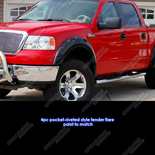 Pocket-Riveted Style ABS Black Fender Flares | 4pcs | For 2004-2008 Ford F-150; 2006-2008 Lincoln Mark LT APS