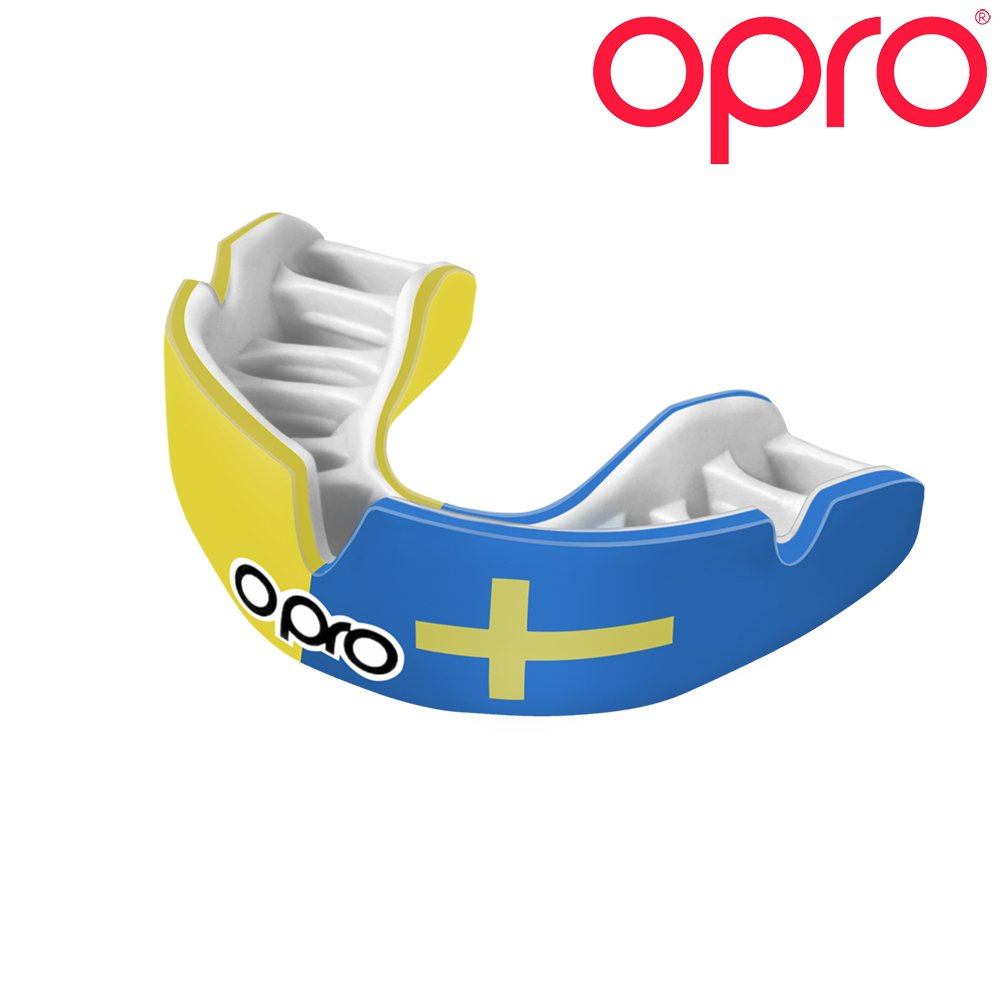 OPRO Power-Fit Countries Mouthguard | Adult Handmade Gum Shield for Football, Rugby, Hockey, Wrestling, and Other Combat and Contact Sports - 18 Month Dental Warranty (Ages 10+) (Sweden)