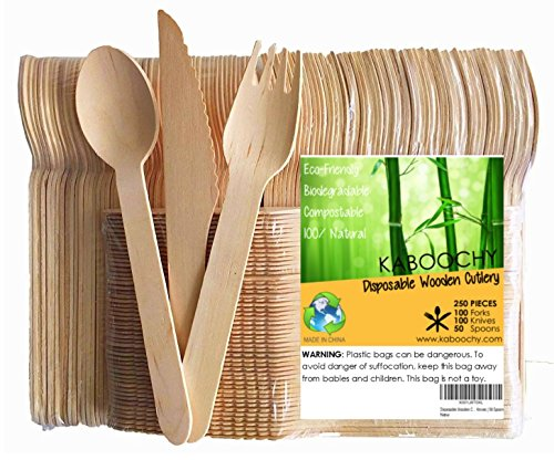Disposable Wooden Cutlery 250pc Set   100 Forks   100 Knives   50 Spoons, 6.25 inch length. 100% Natural, Eco-Friendly, Compostable, Biodegradable, Premium Utensils for Parties by KABOOCHY