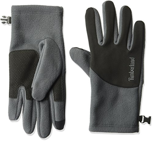 Embroidered Fleece Gloves (Timberland Men's Fleece Power Stretch Glove With Touchscreen Technology, charcoal, S/M)