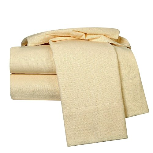 unbrand 100% Egyptian Cotton Deep Pocket Flannel Sheet Set Color Ivories Size Queen from unbrand
