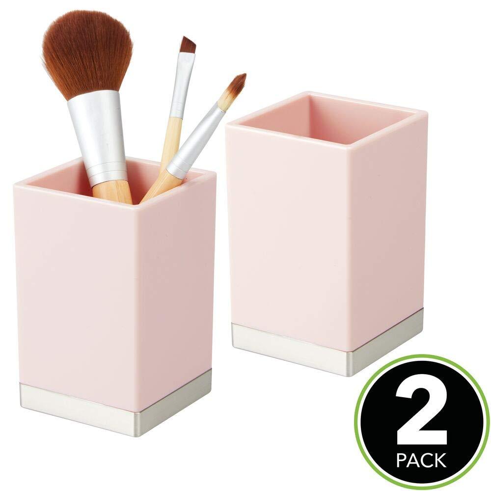 lot de 2 mDesign porte brosse /à dent d/éco en plastique sans BPA gobelet salle de bain pour brosse rasoirs ou cosm/étiques support brosse /à dent antirouille rose