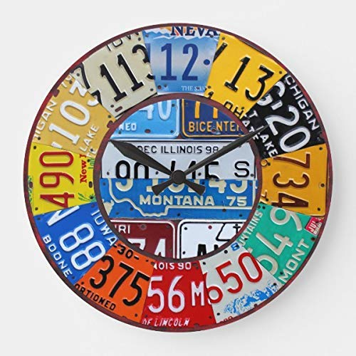 OSWALDO License Plate Clock Vintage Numbers Car Tag Art Decorative Round Wooden Wall Clock - 12 inch - License Plate Clock