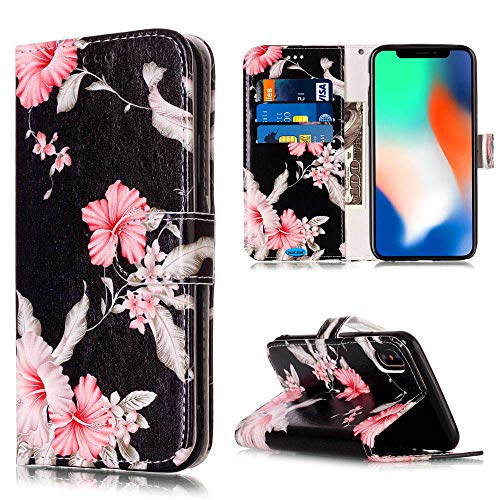 Compatible with iPhone X Case/iPhone Xs Case,JanCalm Floral Pattern Premium PU Leather Wallet [Card/Cash Slots] Stand Flip Cases Cover for iPhone X/XS (Black/Flower) -