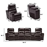 MCombo PU Leather 4 Seat Reclining Home Theatre