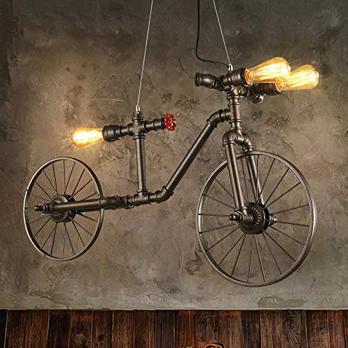 Rishx Retro Personality Bicycle Loft Ceiling Pendant Light 3-lights Steampunk Water Pipe Industrial Vintage Hanging Chandelier Antique Edison Exhibition Hall Dining Room Restaurant Celling Pendant - Channel Pendant Light 24