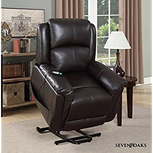 Seven Oaks Power Lift Recliner for Seniors | Electric Chair for the Elderly with Heated Massage | Adjustable Controls & Full Range of Motion | Soft Bonded Leather