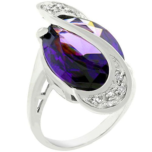 Glam Jewels Pave Amethyst Purple Orbit Fashion Ring for Women CZ Cubic Zirconia Rhodium Plated Brass Pavé Setting