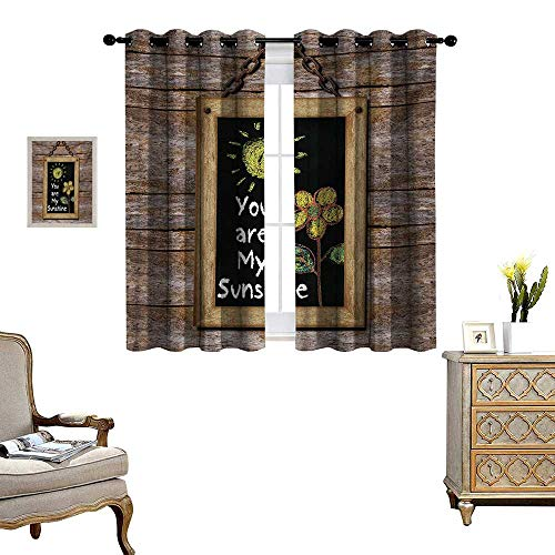 (WinfreyDecor Quote Thermal Insulating Blackout Curtain Love Valentines Phrase with Flower and Hand Drawn Sun Figure on Framed Wooden Wall Patterned Drape for Glass Door W63 x L72 Multicolor)