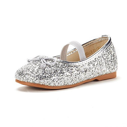 DREAM PAIRS Toddler Belle_01 Silver Girl's Mary Jane Ballerina Flat Shoes Size 10 M US ()