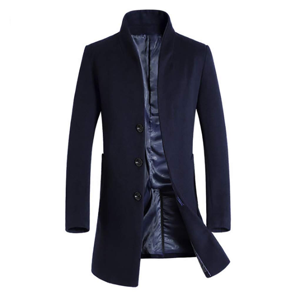 Clearance Forthery Men's Trench Coat Winter Long Jacket Double Breasted Overcoat(Navy, US Size L = Tag XL)
