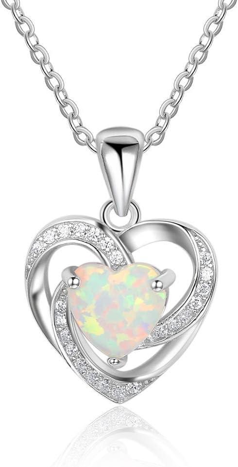 J.MeMi'S S925 Plata Gemas Australianas Ópalo Colgante Medallones Collares Corazón Espiral para Regalo de San Valentín Mujeres