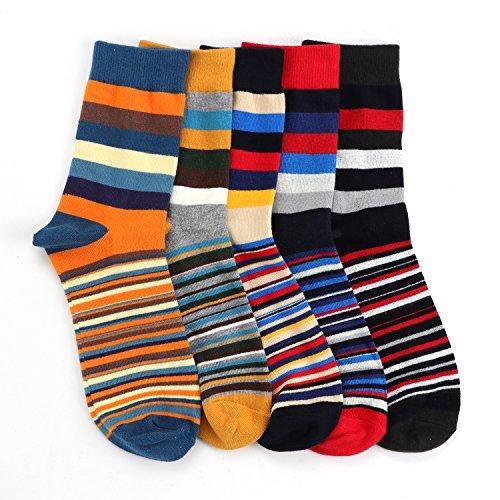 e9f461160a9 Hoyols Mens Dress Casual Socks Stripe Patterned Cotton Crew Socks Colorful  Business Long Socks 5 Color