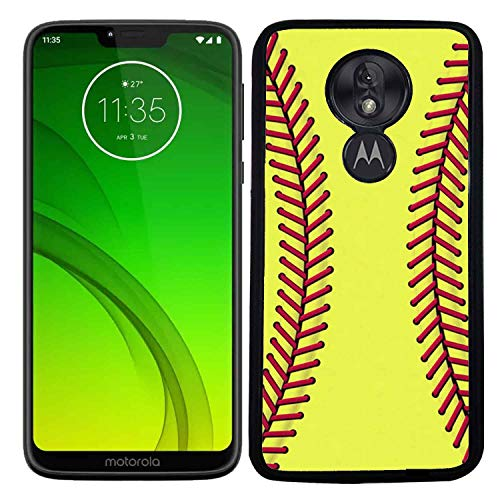 ([TeleSkins] - Rubber TPU Case for Motorola Moto G7 Power Case (2019) - Softball - Ultra Durable Slim Fit, Protective Plastic with Soft Rubber TPU Snap On Back Case/Cover.)