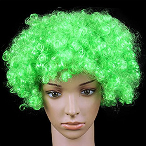 Briday Colorful Clown Cosplay Wavy LED Light Up Flashing Hair Wig Funny Fans Circus Halloween Carnival Glow (Green) for $<!--$10.99-->