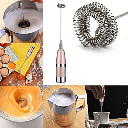 Gotian Durable Stainless Steel Drink Mixer With Double Spring Spiral Whisk Milk Frother, Stainless Steel Electric Milk Bubbler, Egg Beater, Hand Blender, Perfect Gift for any Coffee Lover