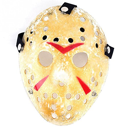 Brutal Girl Friday the 13th Part3 Jason Hockey Deluxe HORROR Halloween MASK Ripped Yellow (Hockey Mask Jason)