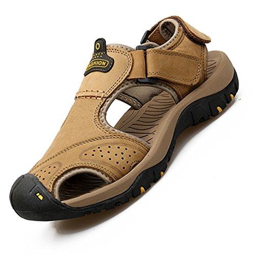 Sport de Souple Aquatique Chaussure Fermée Cuir Chaussure Antidérapant Bout Kaki Été Homme Sandale Plage de PqYFxwB