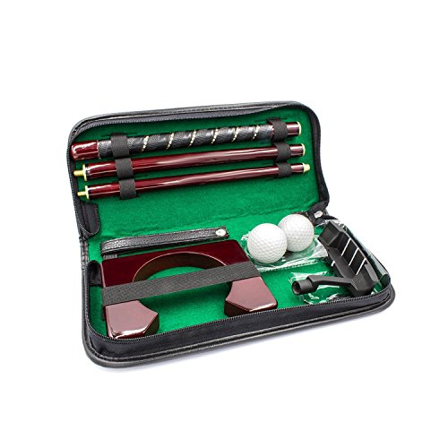 Posma PG020WD Executive Portable Wooden Golf Putter Putting Gift Kit Set with 1pc Wooden Putter, 2pcs Golf Balls, Putting Cup for Indoor outdoor Training Practice, Come with PU Leather case - Executive Cup Putting