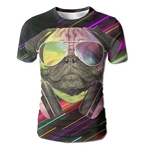 DJ Pug Dog With Headphones Sunglasses Crewneck Printing Short-Sleeved T Shirts For - 56 Sunglasses Dj