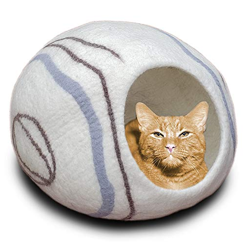 (MEOWFIA Premium Felt Cat Bed Cave (Large) - Eco Friendly 100% Merino Wool Bed for Cats and Kittens (Large, Ivory Stone) )