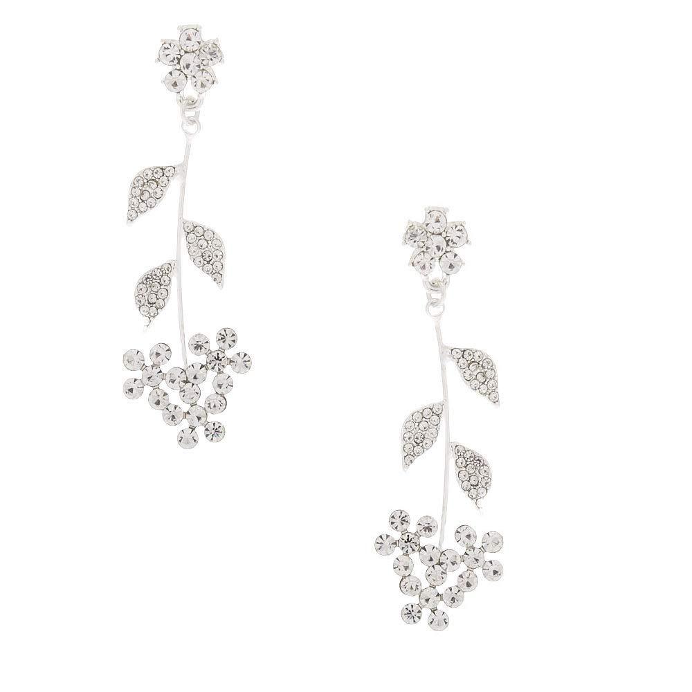 Claires Girls Silver Rhinestone 2.5 Flower Stem Drop Earrings