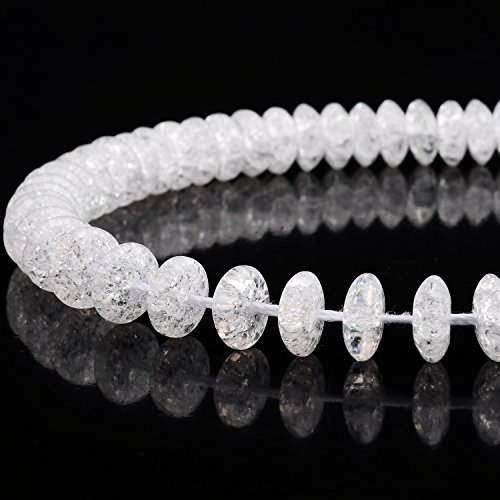 RUBYCA Natural AAA Grade Quartz Crystal Clear AB Rondelle Crackle Beads Jewelry Making 1 Strand 10mm