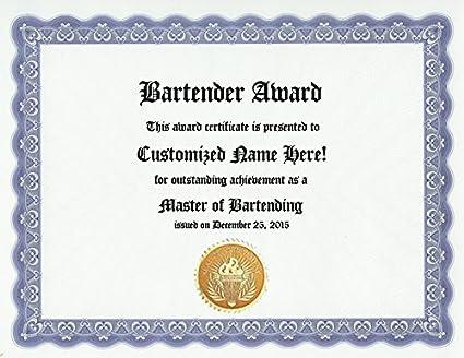 Amazon.com : Bartender Bartending Award: Personalized Custom Award ...