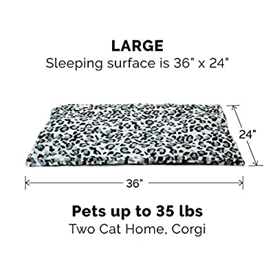 Furhaven Pet Dog Bed Heating Pad   ThermaNAP Quilted Faux Fur Insulated Thermal Self-Warming Pet Bed Pad for Dogs & Cats, Snow Leopard, Large