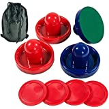 Lemon home Two Colored of Air Hockey Pushers and Red Air Hockey Pucks, Goal Handles Paddles Replacement Accessories for Game Tables (4 Striker, 4 Puck Packs)