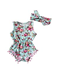 Mapletop Baby Girls Floral Romper Bodysuit Jumpsuit Sunsuit Clothes Set