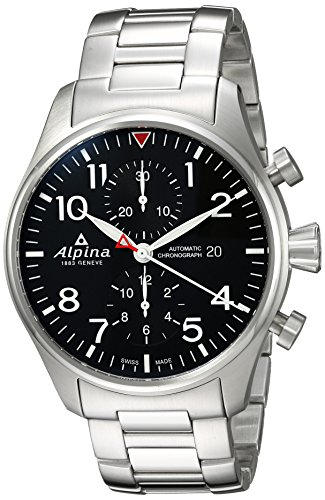 Alpina Men's Startimer Swiss-Automatic Watch with Stainless-Steel Strap, Silver, 22 (Model: AL-725B4S6B) ()
