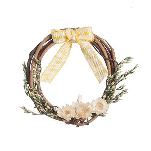 Decorated Wreath (Melody Jane Dollhouse Rustic Wreath Decorated in Yellow Miniature Accessory)