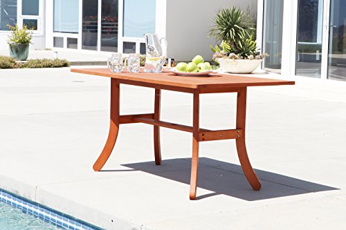 VIFAH V189 Outdoor Wood Rectangular Table with Curvy Legs, Natural Wood Finish, 59 by 36 by 29-Inch (Forest Stewardship Council-certified Eucalyptus Outdoor Furniture Collection)