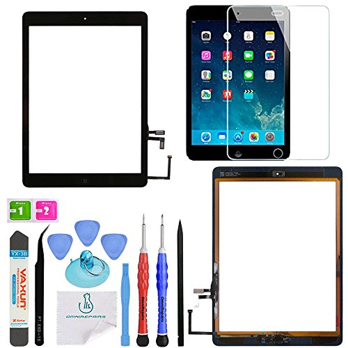 OmniRepairs Glass Touch Screen Digitizer Assembly OEM Replacement with Home Button Compatible for iPad Air 1st Generation with Adhesive Tape, Screen Protector and Repair Toolkit (Black)