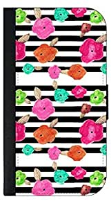 Flower Doodles on Black and White Stripes- Wallet Case for the SAMSUNG GALAXY S3 i9300 ONLY!!!!!-PU Leather and Suede Wallet Iphone Case with Flip Cover that Closes with a Magnetic Clasp and 3 Inner Pockets for Storage