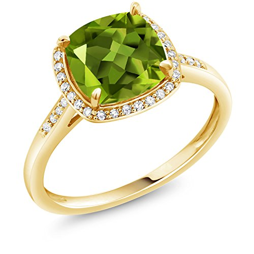 2.45 Ct Cushion Green Peridot 10K Yellow Gold Ring
