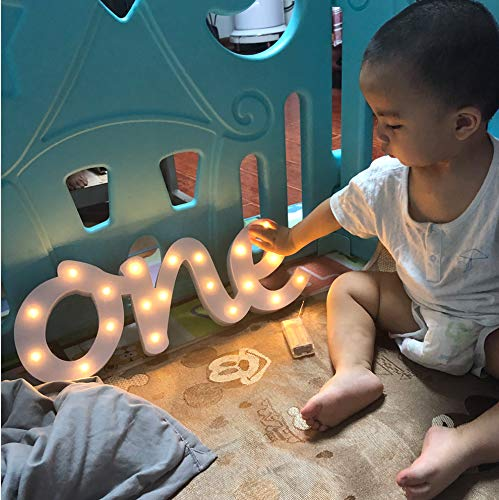 One Birthday Party Decor, one Number, Light up Number, Baby Birthday Party Decoration, Table Centrepiece, self Standing Number (Height : 6.9 inches Depth : 0.59 inch Length: 18.7)]()