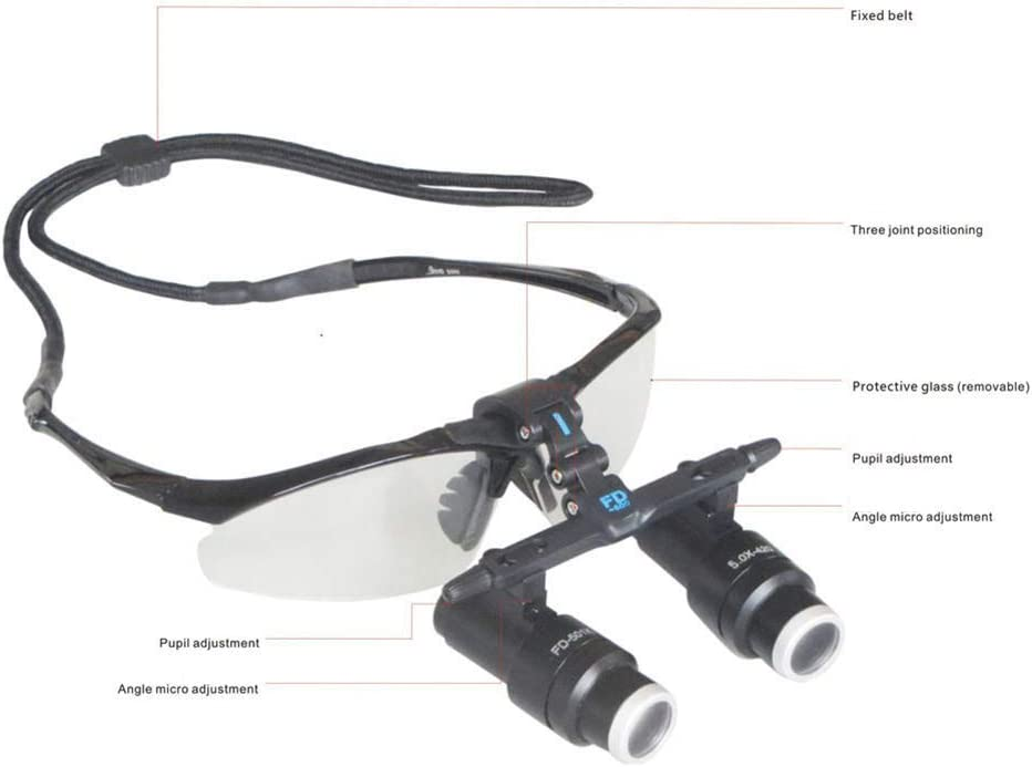 420 mm 4X 5X 6X 6.5X One-Way Adjustment Keppler Goggles Frame Binocular High Magnifying Glasses for Brain Cardiac Surgery Medical Magnifier Dental Surgical Loupes FDA Approved