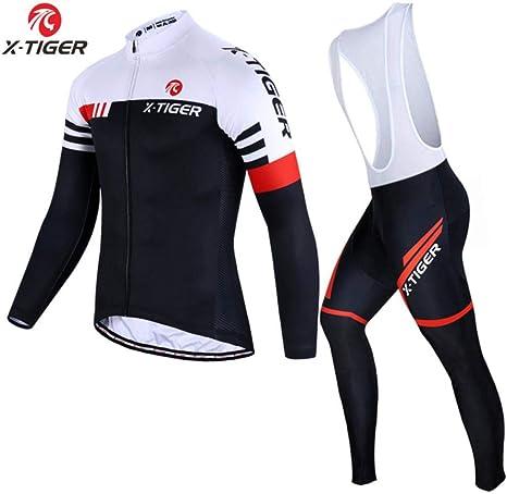 AJSJ Conjunto de Ciclismo de Manga Larga Spring MTB Bike Wear Ropa de Ciclismo Ropa de Bicicleta Conjunto de Ciclismo Maillot , Conjunto de Babero de otoño, XS: Amazon.es: Deportes y aire