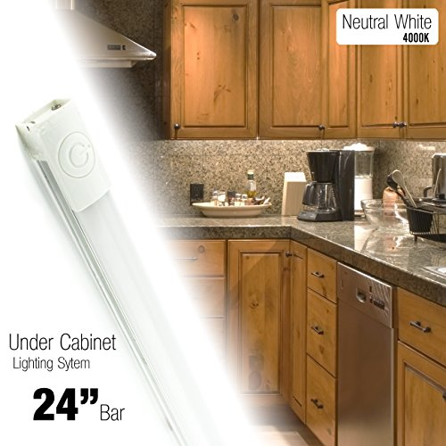 Cyron 24 inch LED 550 Lumen Lighting Kit, Under Cabinet Counter Accent Light Bar, Neutral White (4000K), On/Off Touch Button, Magnetic or Bracket Mount (Included), ETL Listed, 24 Volts DC