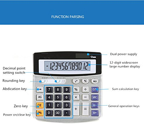 Electronic Desktop Calculator With 12 Digits Large Display Battery