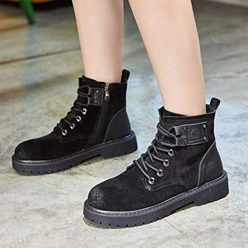 Black T up Platform Autumn Women's Genuine Martin Flat 2018 Soft Short Leather Booties JULY Lace Ankle Winter Boots nnfHpT