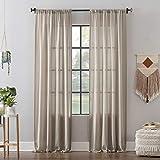 Clean Window Leno Weave Stripe Anti-Dust Allergy/Pet Friendly Sheer Curtain Panel, 52' x 95', Oatmeal