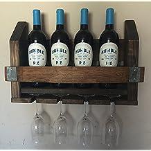 Wine Barrel Wood Wine Rack & Long Stem Glass Holder …