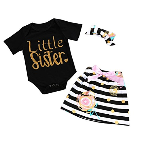 FEITONG Little Sister Baby Girl Letter Print Short-Sleeved Harem Clothes Stripe Wave Skirt Dress With Headband Three Sets (Black, 3-6M)