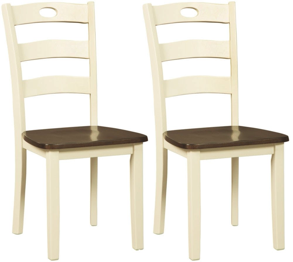 Ashley Furniture Signature Design - Woodanville Dining Side Chair - Set of 2 - Casual - Cream/Brown Finish