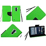 HR Wireless Cell Phone Case for LG G Stylo LS770 H631 G4 Stylus Wallet Covers - Neon Green
