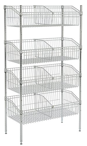 Nexel 4-Basket Shelving Unit, 48